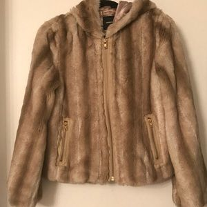 Express faux fur 'mink' jacket with hood. Small